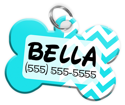 Chevron (Turquoise) Dog Tag for Pets Personalized Custom Pet Tag with Pets Name & Contact Number [Multiple Font Choices] [USA COMPANY] - EliteFanCo