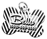 Stripe Pattern Dog Tag for Pets Personalized Custom Pet Tag with Pets Name & Contact Number [Multiple Font Choices] [USA COMPANY]