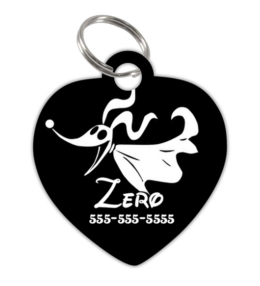 Nightmare Before Christmas Themed Zero Dog ID Tag for Pets Personalized Custom with Pets Name & Contact Number [Multiple Font Choices] | ElitePetFan.com