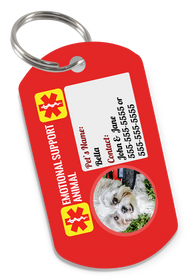 Emotional Support Animal Dog Tag for Pets with Personalized Custom Pet Tag with Contact Information & Picture (Dog or Cat) - EliteFanCo