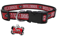 Georgia Bulldogs NCAA Pet Dog or Cat Collar with FREE Personalized ID Dog Tag with Name & Number [Multiple Collar Sizes Avl: S,M,L] - EliteFanCo