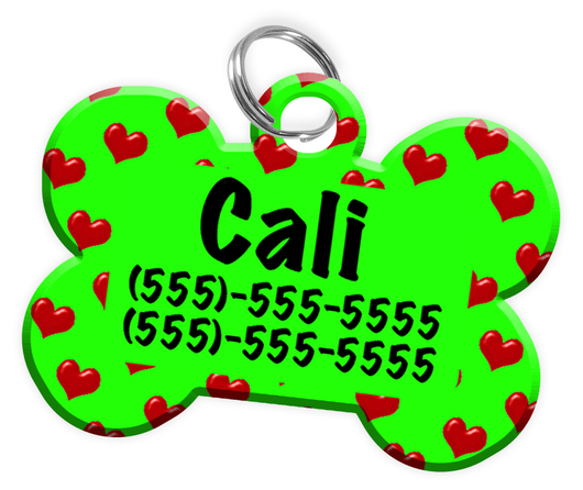 Heart Pattern (Light Green) Dog Tag for Pets Personalized Custom Pet Tag with Pets Name & Contact Number [Multiple Font Choices] [USA COMPANY]
