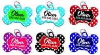 Cute Polka Dot Design Dog Tag for Pets Personalized Custom Pet Tag with Pets Name & Contact Number [Multiple Font Choices] [USA COMPANY]