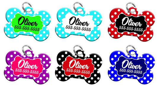 9d749dff4ca0 Cute Polka Dot Design Dog Tag for Pets Personalized Custom Pet Tag with Pets  Name &