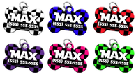 Checkered Personalized Pet ID Tag for Dog with custom name & number [Multiple Fonts] [2017 Modern Engraving]