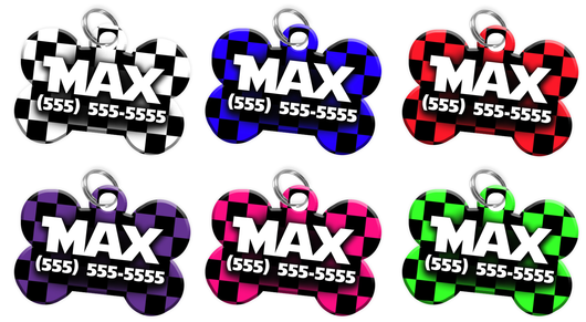 Checkered Personalized Pet ID Tag for Dog with custom name & number [Multiple Fonts] [2017 Modern Engraving] | ElitePetFan.com