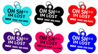 Funny Oh Sh** Dog Tag for Pets Personalized Custom Pet Tag with Pets Name & Contact Number [Multiple Font Choices] [USA COMPANY] - EliteFanCo