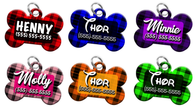 Plaid Personalized Pet ID Tag for Dog with custom name & number [Multiple Fonts including Disney themed font] [2017 Modern Engraving] | ElitePetFan.com
