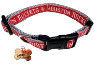 Houston Rockets Basketball Dog or Cat Collar with FREE Personalized Dog Tag for Pets with Name & Number [Multiple Collar Sizes Avl: S,M,L] - EliteFanCo