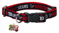 Houston Texans Football Pet Dog or Cat Collar with FREE Personalized ID Dog Tag with Name & Number [Multiple Collar Sizes Avl: S,M,L] - EliteFanCo
