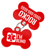 Special Attention Alert [Blind Dogs] Dog Tag for Pets with Personalized Custom Pet Tag with Pets Name & Contact Number [Multiple Font Choices]