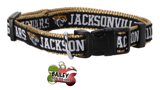 Jacksonville Jaguars Football Pet Dog or Cat Collar with FREE Personalized ID Dog Tag with Name & Number [Multiple Collar Sizes Avl: S,M,L]