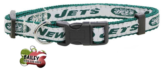 New York Jets Football Pet Dog or Cat Collar with FREE Personalized ID Dog Tag with Name & Number [Multiple Collar Sizes Avl: S,M,L]
