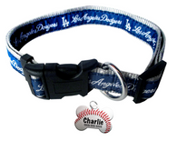 LA Dodgers Baseball Dog or Cat Collar with FREE Personalized Dog Tag for Pets with Name & Number [Multiple Collar Sizes Avl: S,M,L]