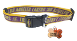 Los Angeles Lakers Basketball Dog or Cat Collar with FREE Personalized Dog Tag for Pets with Name & Number [Multiple Collar Sizes Avl: S,M,L]