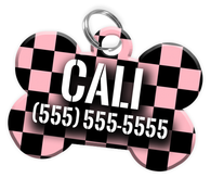 Checkered (Pink) Dog Tag for Pets Personalized Custom Pet Tag with Pets Name & Contact Number [Multiple Font Choices] [USA COMPANY] - EliteFanCo