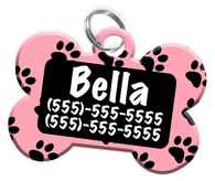 Paw Print Pattern (Pink) Dog Tag for Pets Personalized Custom Pet Tag with Pets Name & Contact Number [Multiple Font Choices] [USA COMPANY]