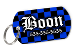 Blue Checkered Tag for Dogs Personalized Custom Pet Tag with Pets Name & Contact Number