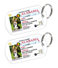 Alabama Driver License Custom Pet ID Tags - Dog or Cat ID Tag - Personalized - US Company - EliteFanCo
