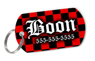 Red Checkered Tag for Dogs Personalized Custom Pet Tag with Pets Name & Contact Number