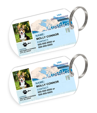 Alaska Driver License Custom Pet ID Tags - Dog or Cat ID Tag - Personalized - US Company - EliteFanCo