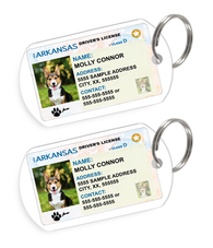 Arkansas Driver License Custom Pet ID Tags - Dog or Cat ID Tag - Personalized - US Company - EliteFanCo