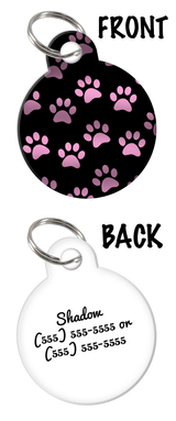 Pink Paw Prints Custom Pet ID double-sided Dog Tag for Dog with Personalized Pets Name & Contact Number on the back | ElitePetFan.com