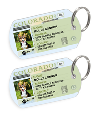 Colorado Driver License Custom Pet ID Tags - Dog or Cat ID Tag - Personalized - US Company - EliteFanCo
