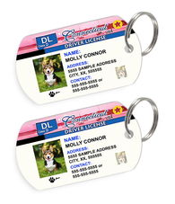 Connecticut Driver License Custom Pet ID Tags - Dog or Cat ID Tag - Personalized - US Company - EliteFanCo
