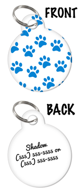 Blue Paw Prints Custom Pet ID double-sided Dog Tag for Dog with Personalized Pets Name & Contact Number on the back | ElitePetFan.com