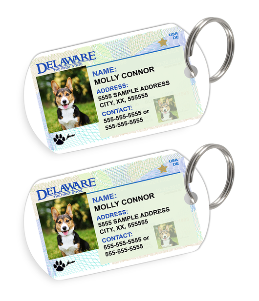 Delaware Driver License Custom Pet ID Tags - Dog or Cat ID Tag - Personalized - US Company | ElitePetFan.com