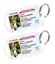 Illinois Driver License Custom Pet ID Tags - Dog or Cat ID Tag - Personalized - US Company