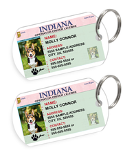 Indiana Driver License Custom Pet ID Tags - Dog or Cat ID Tag - Personalized - US Company