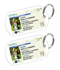 Iowa Driver License Custom Pet ID Tags - Dog or Cat ID Tag - Personalized - US Company