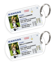 Kansas Driver License Custom Pet ID Tags - Dog or Cat ID Tag - Personalized - US Company
