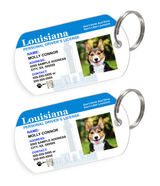 Louisiana Driver License Custom Pet ID Tags - Dog or Cat ID Tag - Personalized - US Company