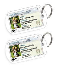 Maine Driver License Custom Pet ID Tags - Dog or Cat ID Tag - Personalized - US Company