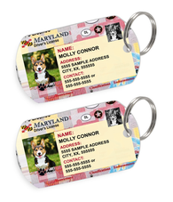 Maryland Driver License Custom Pet ID Tags - Dog or Cat ID Tag - Personalized - US Company