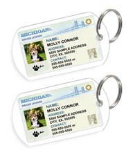 Michigan Driver License Custom Pet ID Tags - Dog or Cat ID Tag - Personalized - US Company