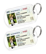 Minnesota Driver License Custom Pet ID Tags - Dog or Cat ID Tag - Personalized - US Company