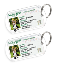 Mississippi Driver License Custom Pet ID Tags - Dog or Cat ID Tag - Personalized - US Company