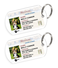 Missouri Driver License Custom Pet ID Tags - Dog or Cat ID Tag - Personalized - US Company