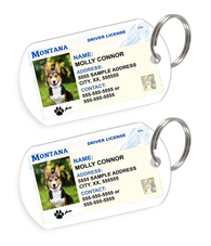 Montana Driver License Custom Pet ID Tags - Dog or Cat ID Tag - Personalized - US Company