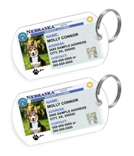 Nebraska Driver License Custom Pet ID Tags - Dog or Cat ID Tag - Personalized - US Company