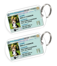New Hampshire Driver License Custom Pet ID Tags - Dog or Cat ID Tag - Personalized - US Company