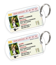 New Mexico Driver License Custom Pet ID Tags - Dog or Cat ID Tag - Personalized - US Company