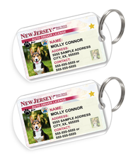 New Jersey Driver License Custom Pet ID Tags - Dog or Cat ID Tag - Personalized - US Company