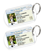 New York Driver License Custom Pet ID Tags - Dog or Cat ID Tag - Personalized - US Company