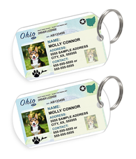 Ohio Driver License Custom Pet ID Tags - Dog or Cat ID Tag - Personalized - US Company