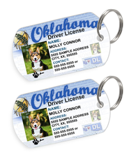 Oklahoma Driver License Custom Pet ID Tags - Dog or Cat ID Tag - Personalized - US Company